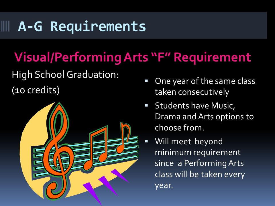 A-G Requirements Visual/Performing Arts F Requirement High School Graduation: (10 credits)  One year of the same class taken consecutively  Students have Music, Drama and Arts options to choose from.
