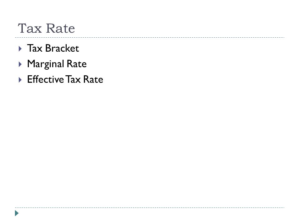 Tax Rate  Tax Bracket  Marginal Rate  Effective Tax Rate
