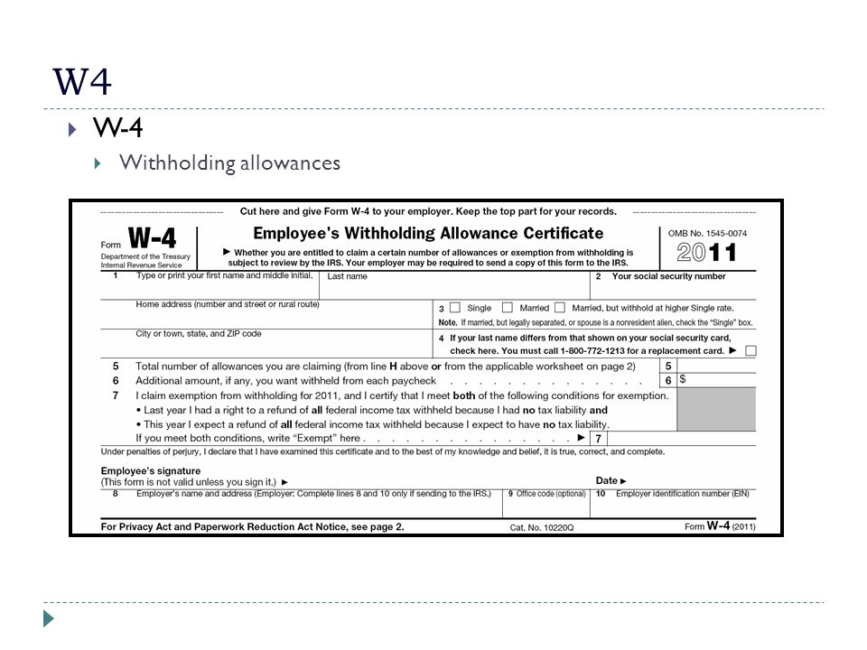 W4  W-4  Withholding allowances
