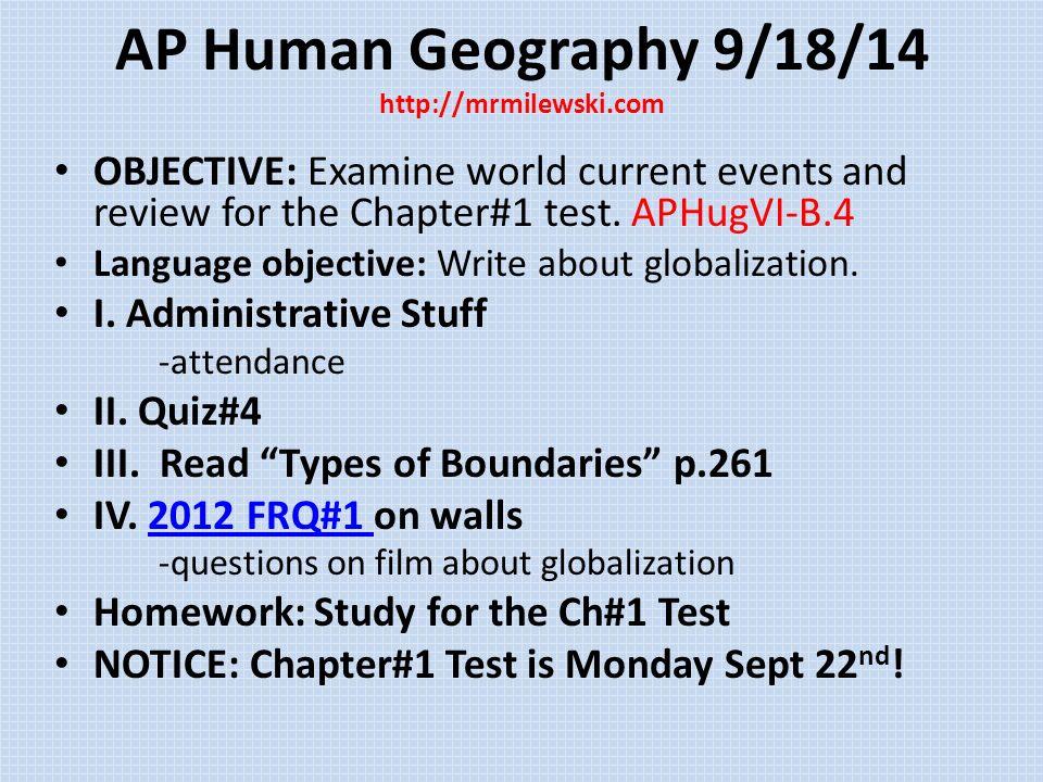 AP Human Geography Week #3 Fall AP Human Geography 9/15/14