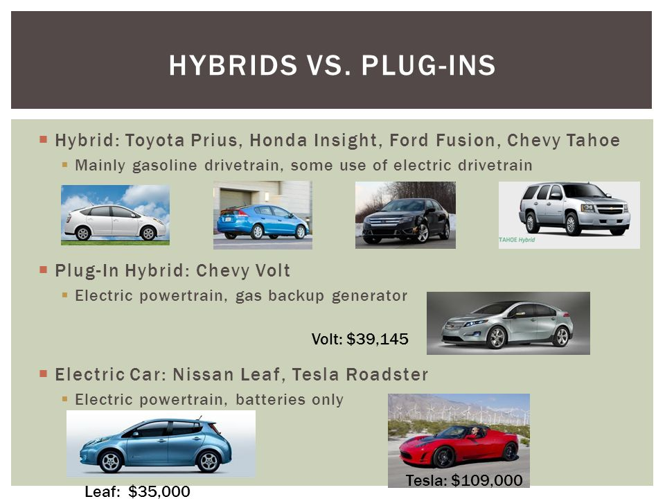 Ford Fusion Chevy Tahoe Mainly Gasoline Drivetrain Some Use Of Electric Plug In Hybrid Volt Train