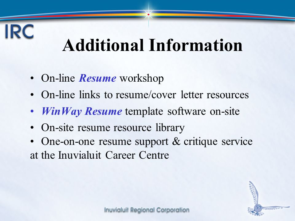 1 Resume Cover Letter Workshop Inuvialuit Career Centre April Ppt