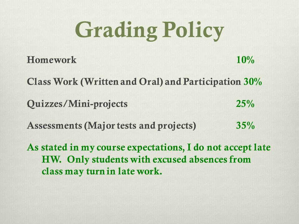 Grading Policy Homework 10% Class Work (Written and Oral) and Participation 30% Quizzes/Mini-projects 25% Assessments (Major tests and projects) 35% As stated in my course expectations, I do not accept late HW.