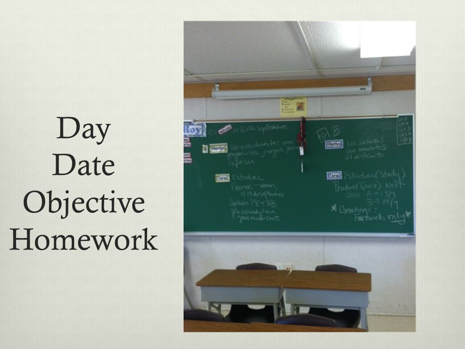 Day Date Objective Homework