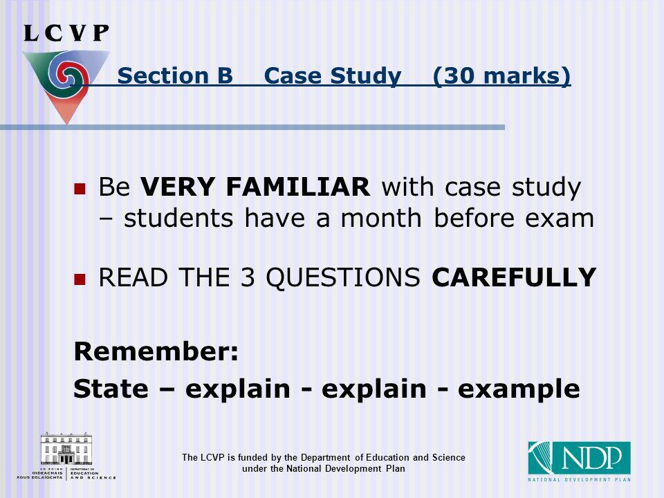 case study 2015 lcvp