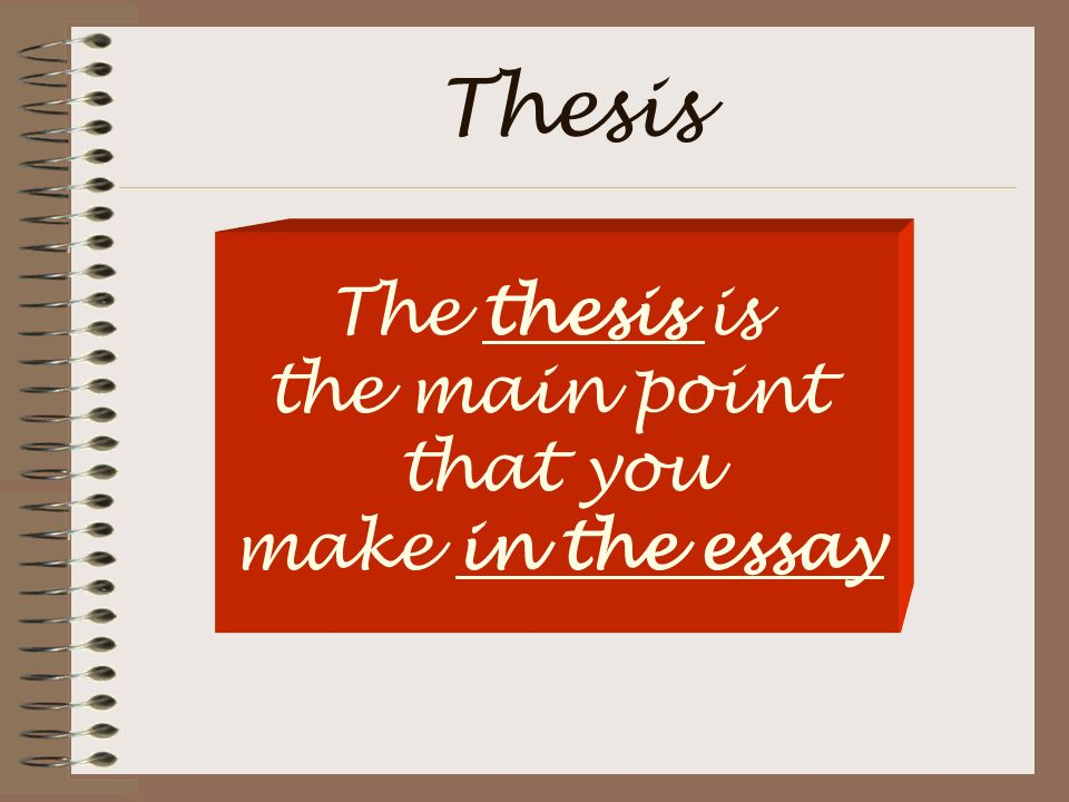 Thesis The thesis is the main point that you make in the essay