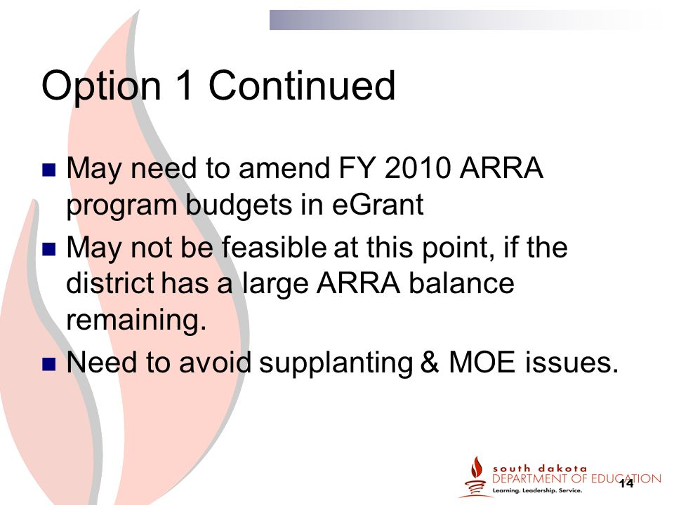 14 Option 1 Continued May need to amend FY 2010 ARRA program budgets in eGrant May not be feasible at this point, if the district has a large ARRA balance remaining.