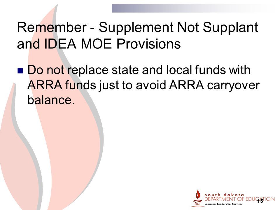15 Remember - Supplement Not Supplant and IDEA MOE Provisions Do not replace state and local funds with ARRA funds just to avoid ARRA carryover balance.
