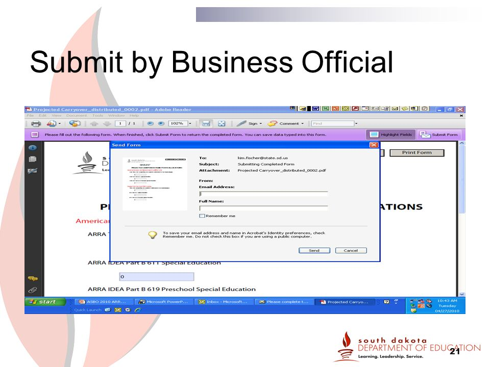21 Submit by Business Official