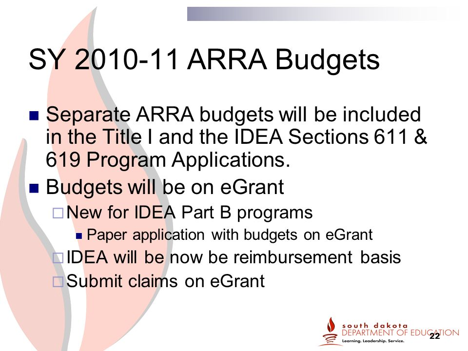 22 SY ARRA Budgets Separate ARRA budgets will be included in the Title I and the IDEA Sections 611 & 619 Program Applications.