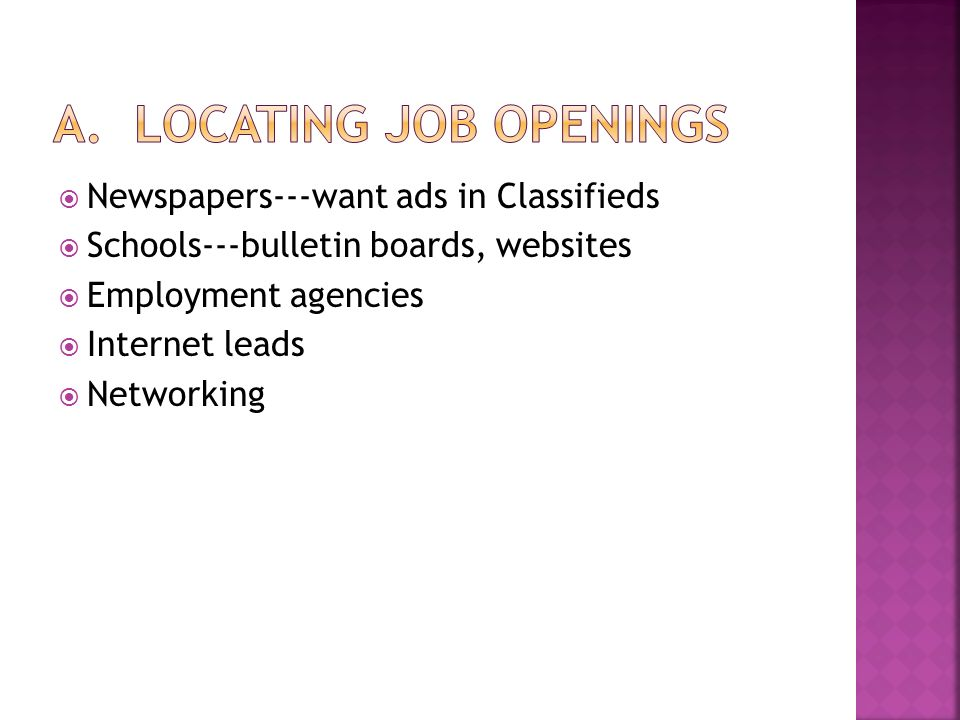  Newspapers---want ads in Classifieds  Schools---bulletin boards, websites  Employment agencies  Internet leads  Networking