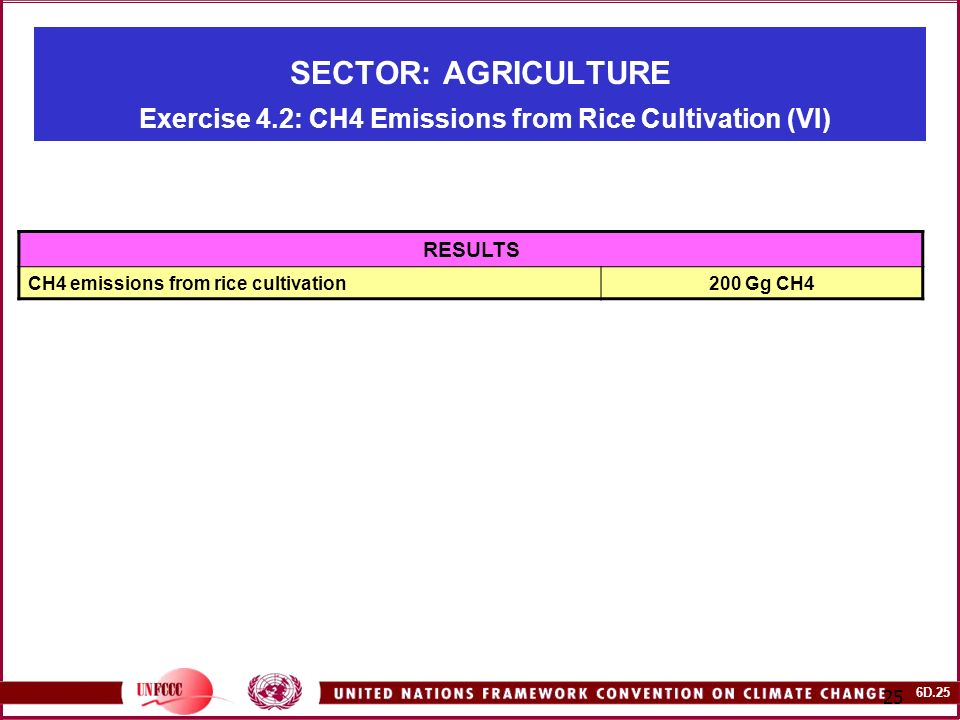 6D SECTOR: AGRICULTURE Exercise 4.2: CH4 Emissions from Rice Cultivation (VI) RESULTS CH4 emissions from rice cultivation200 Gg CH4
