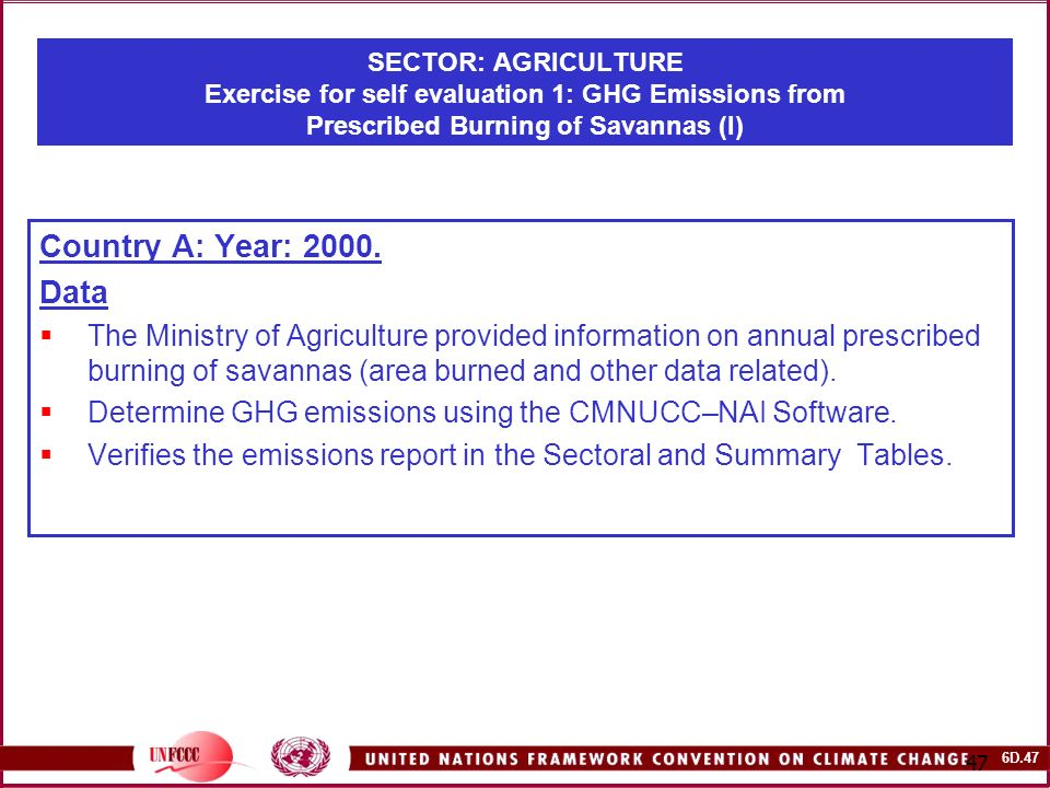 6D SECTOR: AGRICULTURE Exercise for self evaluation 1: GHG Emissions from Prescribed Burning of Savannas (I) Country A: Year: 2000.