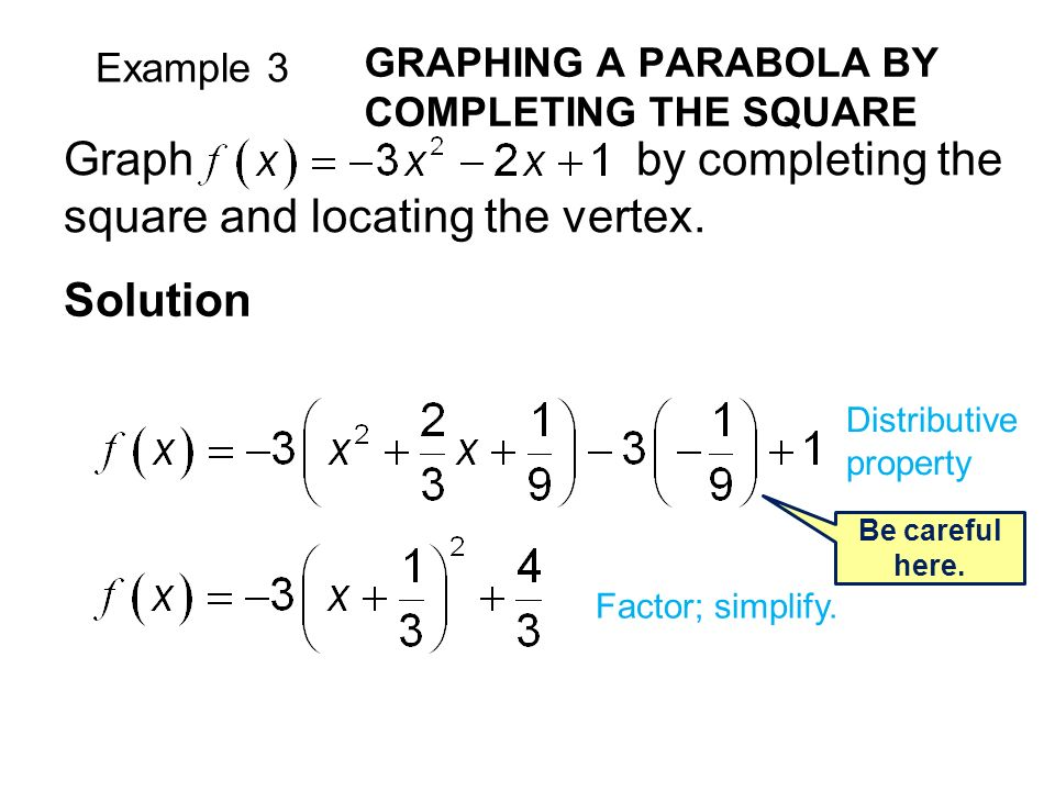 Example 3 GRAPHING A PARABOLA BY COMPLETING THE SQUARE Solution Graph by completing the square and locating the vertex.