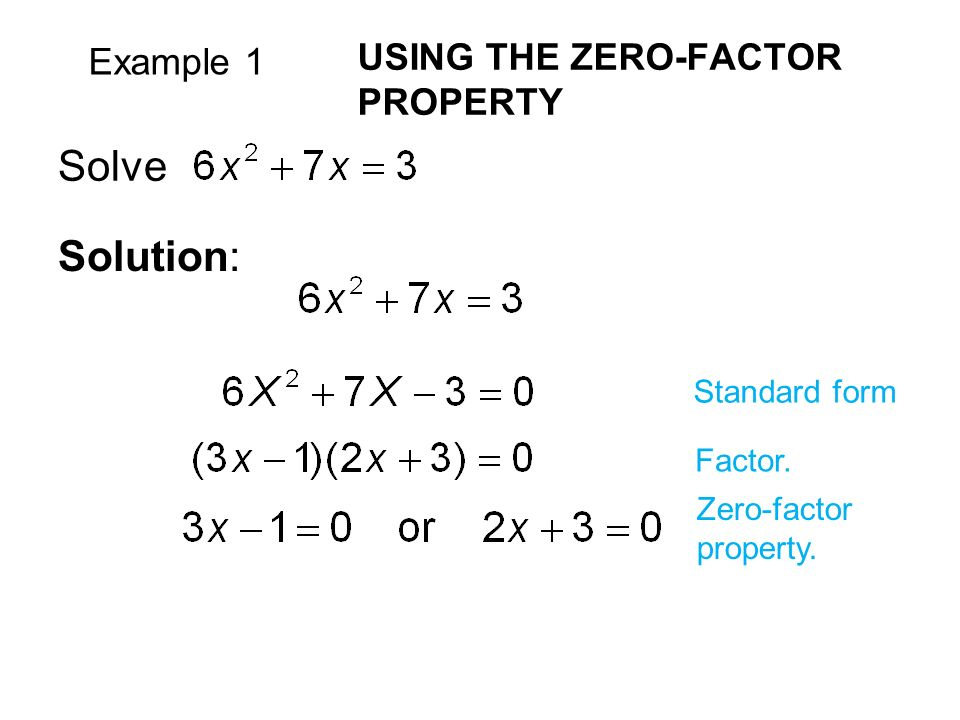 Example 1 USING THE ZERO-FACTOR PROPERTY Solve Solution: Standard form Factor.