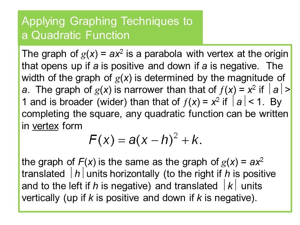 Applying Graphing Techniques to a Quadratic Function The graph of g (x) = ax 2 is a parabola with vertex at the origin that opens up if a is positive and down if a is negative.