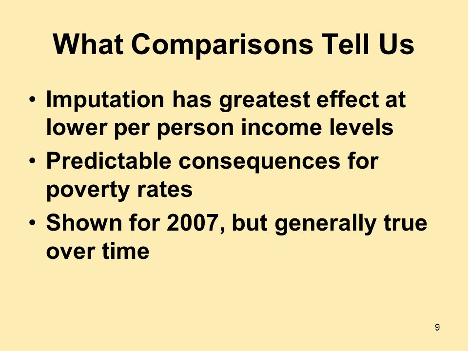 What Comparisons Tell Us Imputation has greatest effect at lower per person income levels Predictable consequences for poverty rates Shown for 2007, but generally true over time 9
