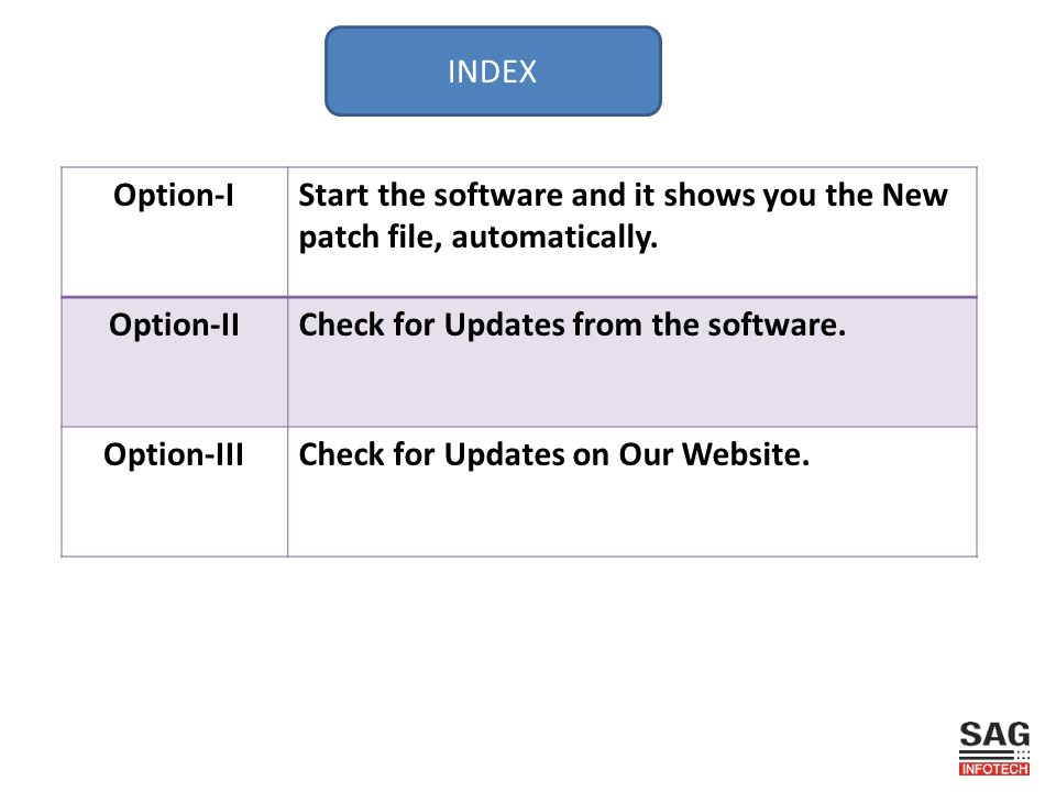 INDEX Option-IStart the software and it shows you the New patch file, automatically.