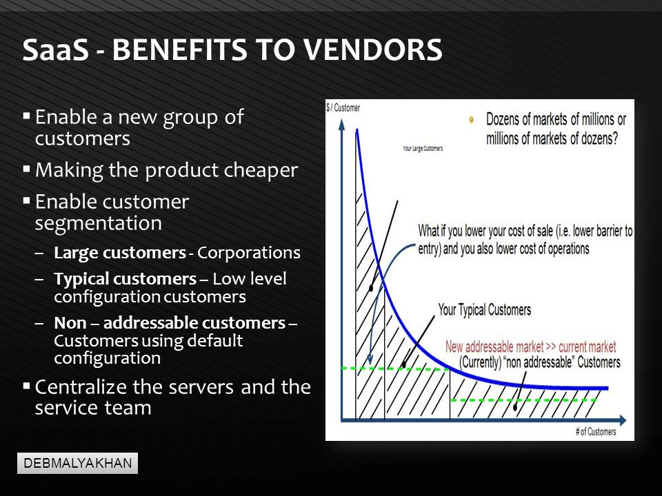 Page  19 SaaS - BENEFITS TO VENDORS  Enable a new group of customers  Making the product cheaper  Enable customer segmentation –Large customers - Corporations –Typical customers – Low level configuration customers –Non – addressable customers – Customers using default configuration  Centralize the servers and the service team DEBMALYA KHAN