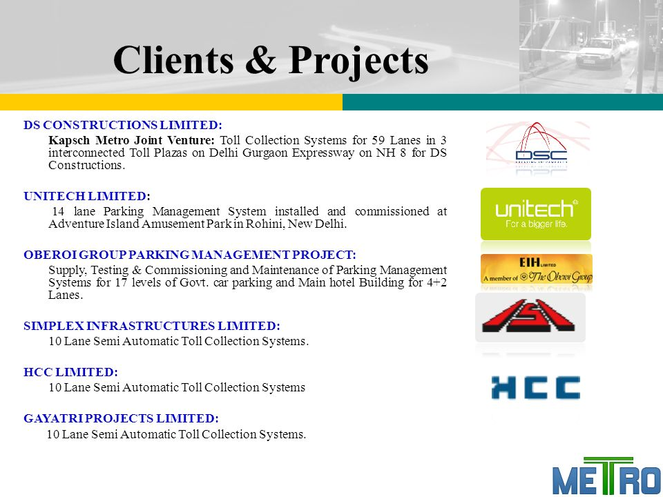 Tolling Solution from Metro Infrasys  Overview Metro
