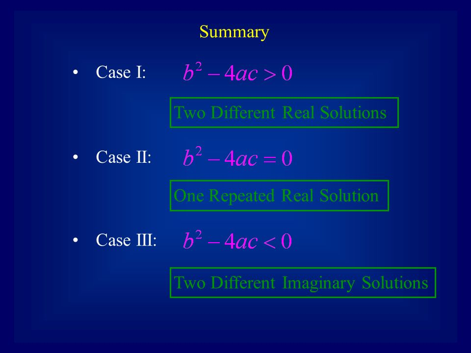 Two Different Imaginary Solutions Case III: Case I: Two Different Real Solutions Case II: One Repeated Real Solution Summary