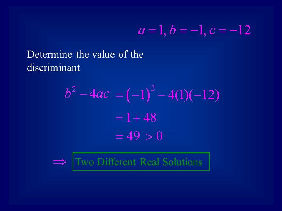 Determine the value of the discriminant Two Different Real Solutions