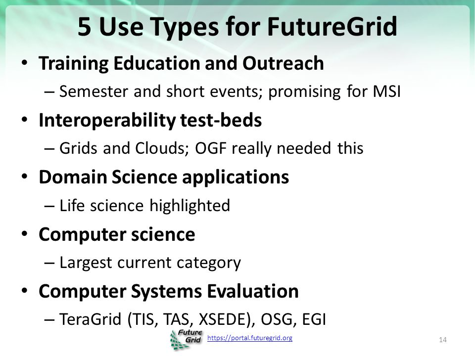 5 Use Types for FutureGrid Training Education and Outreach – Semester and short events; promising for MSI Interoperability test-beds – Grids and Clouds; OGF really needed this Domain Science applications – Life science highlighted Computer science – Largest current category Computer Systems Evaluation – TeraGrid (TIS, TAS, XSEDE), OSG, EGI 14