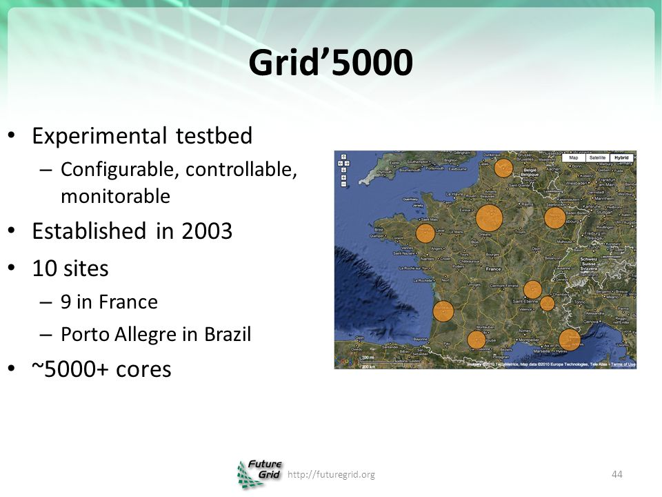 Grid'5000 Experimental testbed – Configurable, controllable, monitorable Established in sites – 9 in France – Porto Allegre in Brazil ~5000+ cores   44