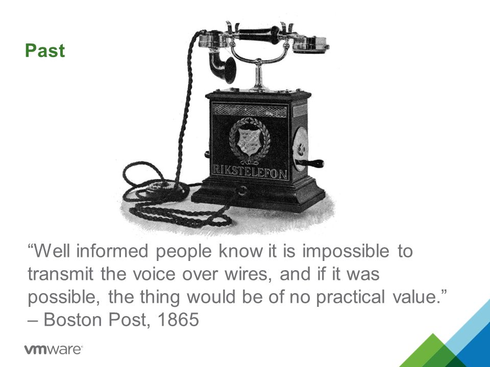 Well informed people know it is impossible to transmit the voice over wires, and if it was possible, the thing would be of no practical value. – Boston Post, 1865 Past