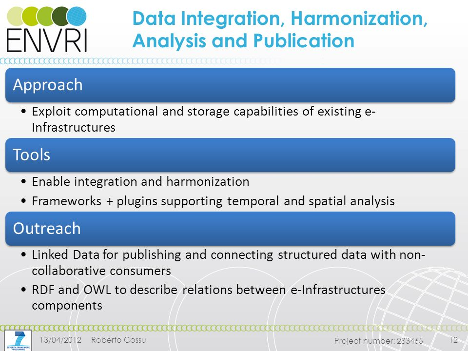 Project number: Data Integration, Harmonization, Analysis and Publication Approach Exploit computational and storage capabilities of existing e- Infrastructures Tools Enable integration and harmonization Frameworks + plugins supporting temporal and spatial analysis Outreach Linked Data for publishing and connecting structured data with non- collaborative consumers RDF and OWL to describe relations between e-Infrastructures components 13/04/2012Roberto Cossu12