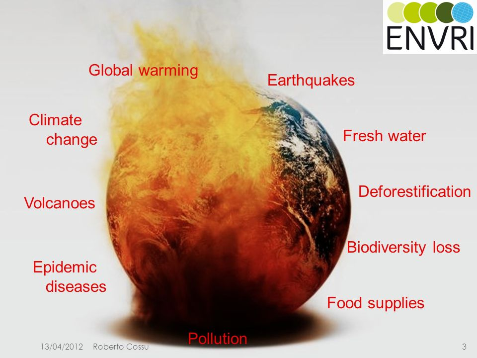 Project number: Global warming Biodiversity loss Pollution Fresh water Epidemic diseases Deforestification Climate change Food supplies Volcanoes Earthquakes 13/04/20123Roberto Cossu