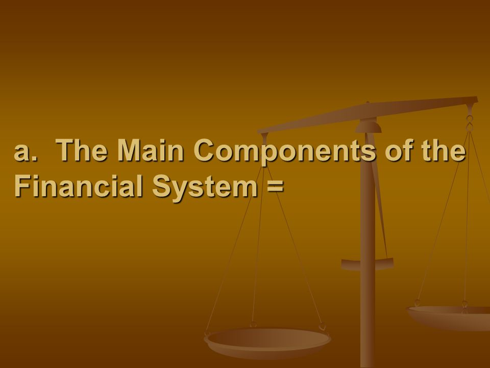 a. The Main Components of the Financial System =