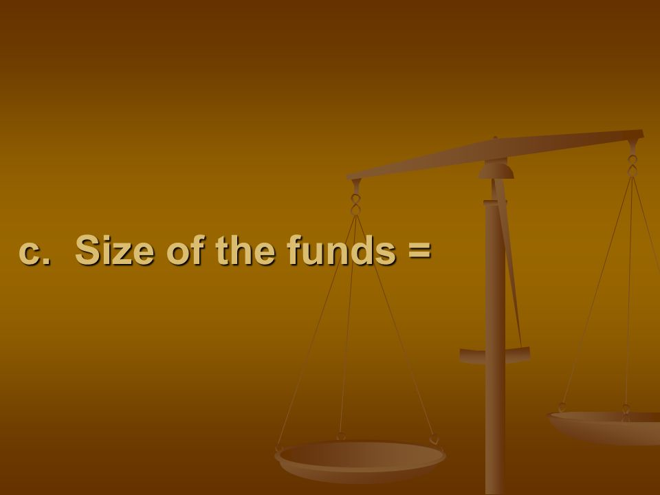 c. Size of the funds =