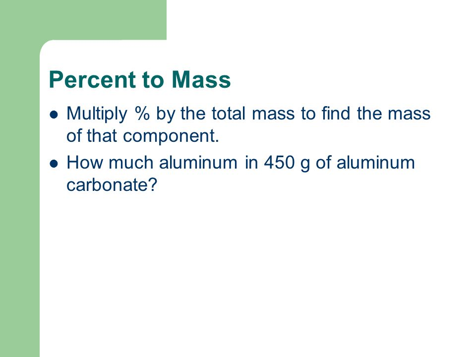 Examples Calculate the percent composition of C 2 H 4. Aluminum carbonate.