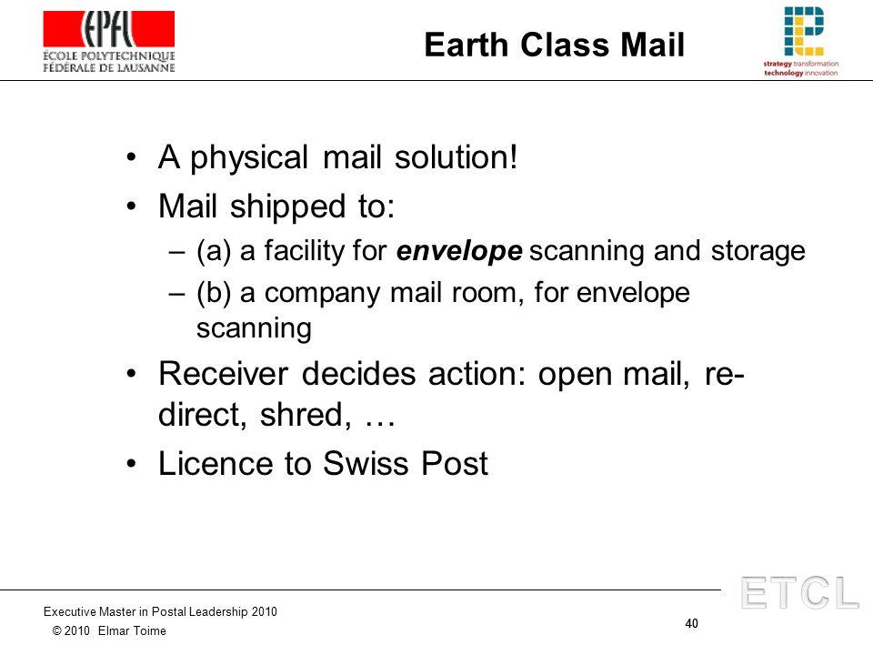 1 Executive Master in Postal Leadership 2010 © 2010 Elmar