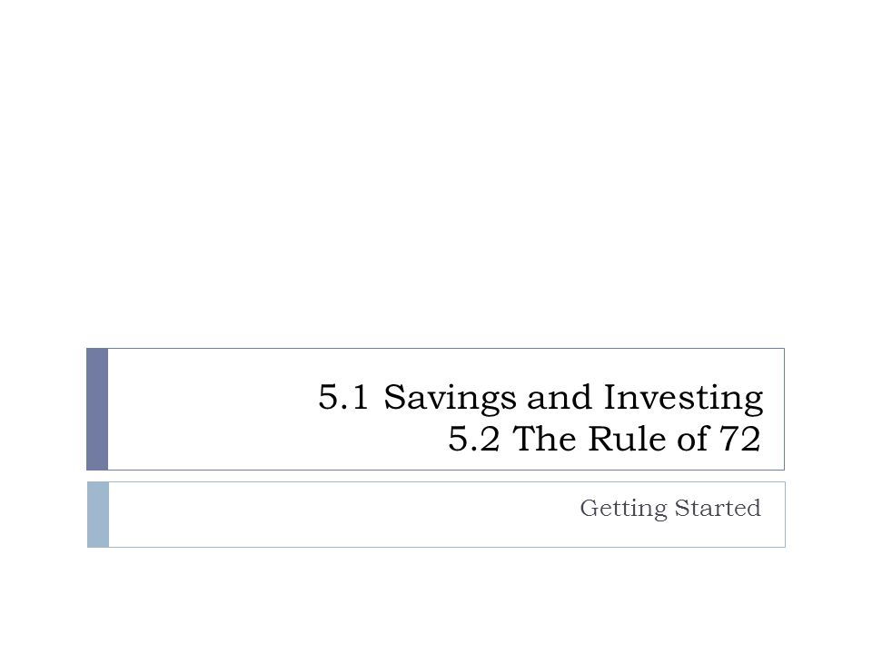 5.1 Savings and Investing 5.2 The Rule of 72 Getting Started