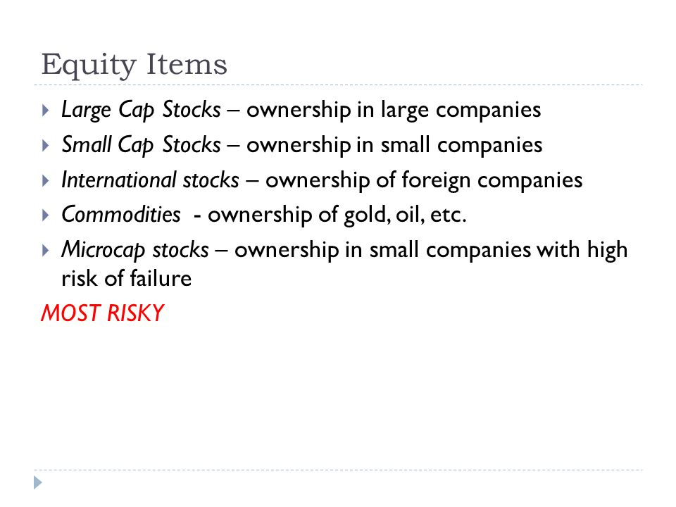 Equity Items  Large Cap Stocks – ownership in large companies  Small Cap Stocks – ownership in small companies  International stocks – ownership of foreign companies  Commodities - ownership of gold, oil, etc.