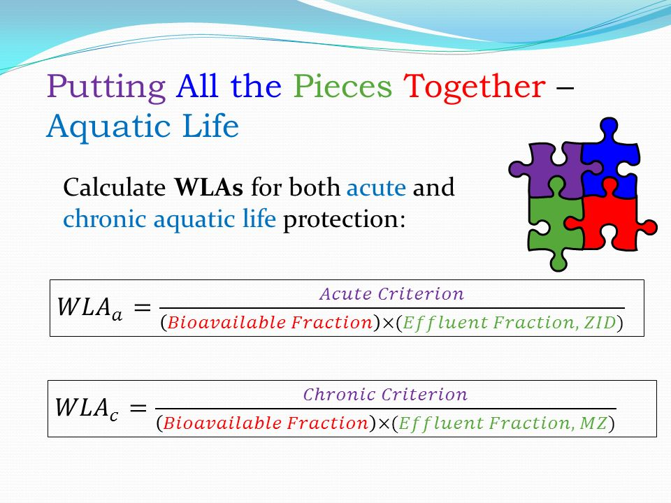 Putting All the Pieces Together – Aquatic Life Calculate WLAs for both acute and chronic aquatic life protection: Putting All the Pieces Together – Aquatic Life