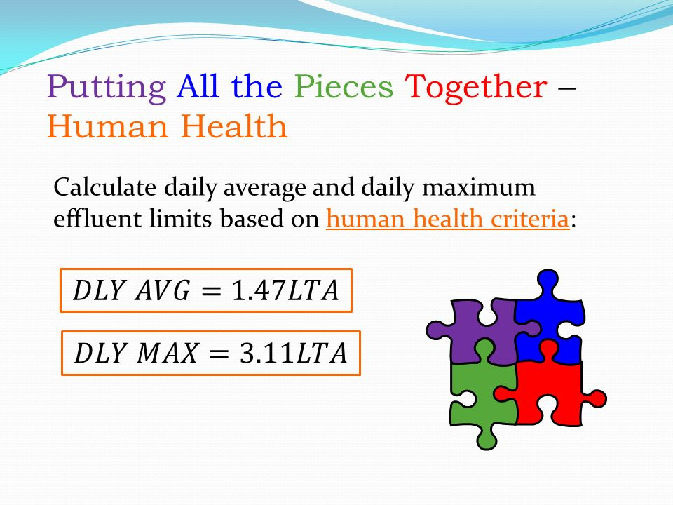 Calculate daily average and daily maximum effluent limits based on human health criteria: Putting All the Pieces Together – Human Health