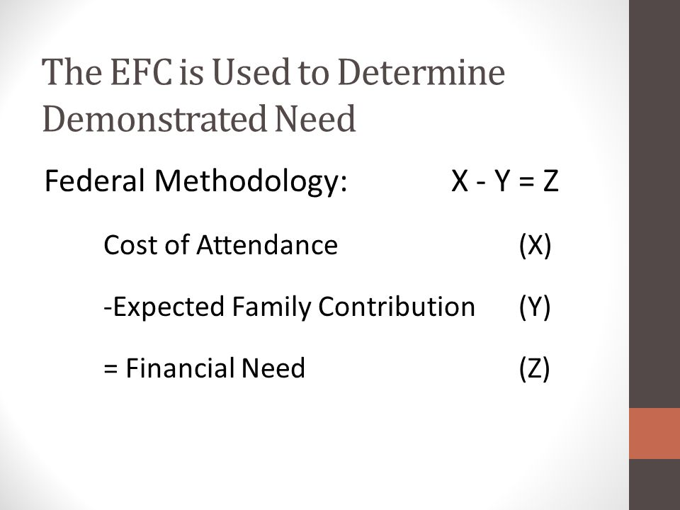 The EFC is Used to Determine Demonstrated Need Federal Methodology: X - Y = Z Cost of Attendance (X) -Expected Family Contribution (Y) = Financial Need (Z)