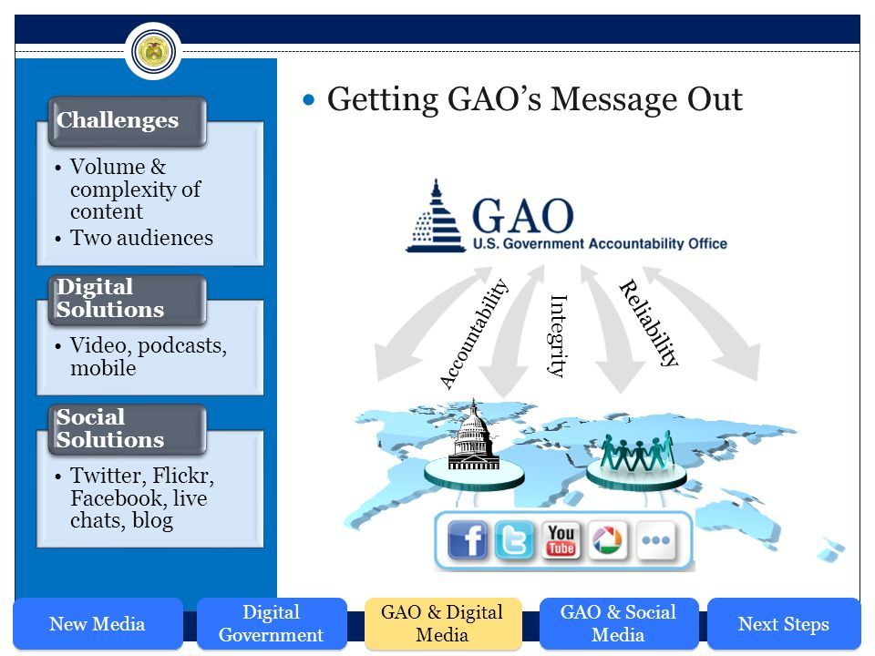 Accountability Integrity Reliability Getting GAO's Message Out Volume & complexity of content Two audiences Challenges Video, podcasts, mobile Digital Solutions Twitter, Flickr, Facebook, live chats, blog Social Solutions New Media Digital Government GAO & Digital Media GAO & Social Media Next Steps