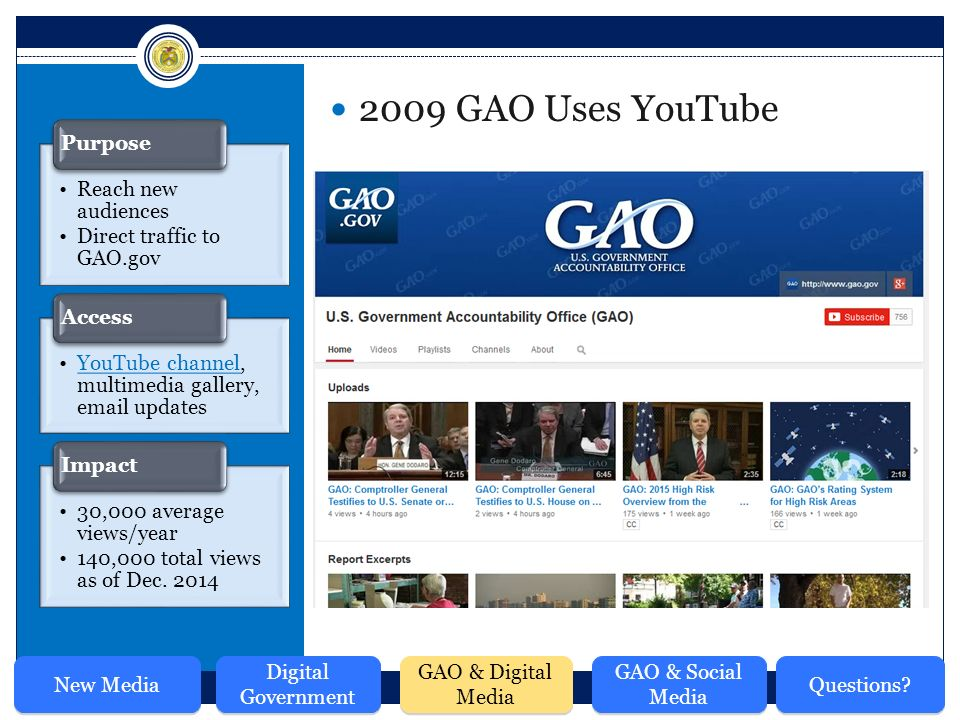 Reach new audiences Direct traffic to GAO.gov Purpose YouTube channel, multimedia gallery,  updatesYouTube channel Access 30,000 average views/year 140,000 total views as of Dec.