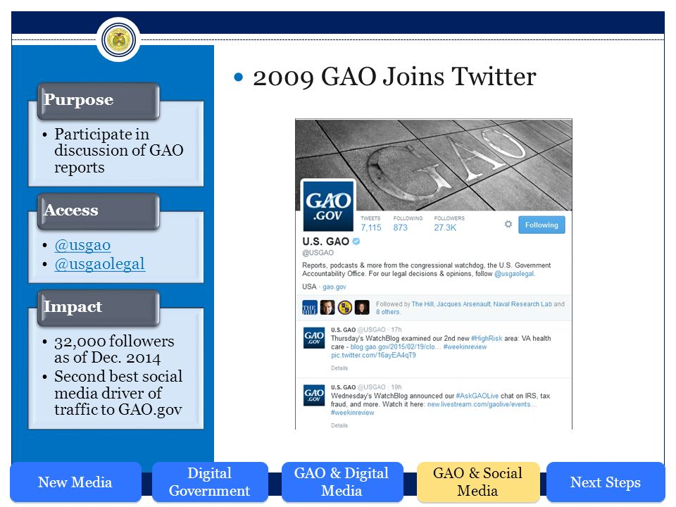 2009 GAO Joins Twitter Participate in discussion of GAO  Access 32,000 followers as of Dec.