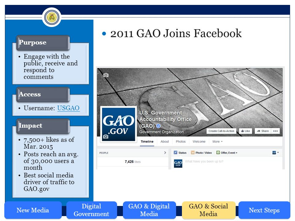 2011 GAO Joins Facebook Engage with the public, receive and respond to comments Purpose Username: USGAOUSGAO Access 7,500+ likes as of Mar.