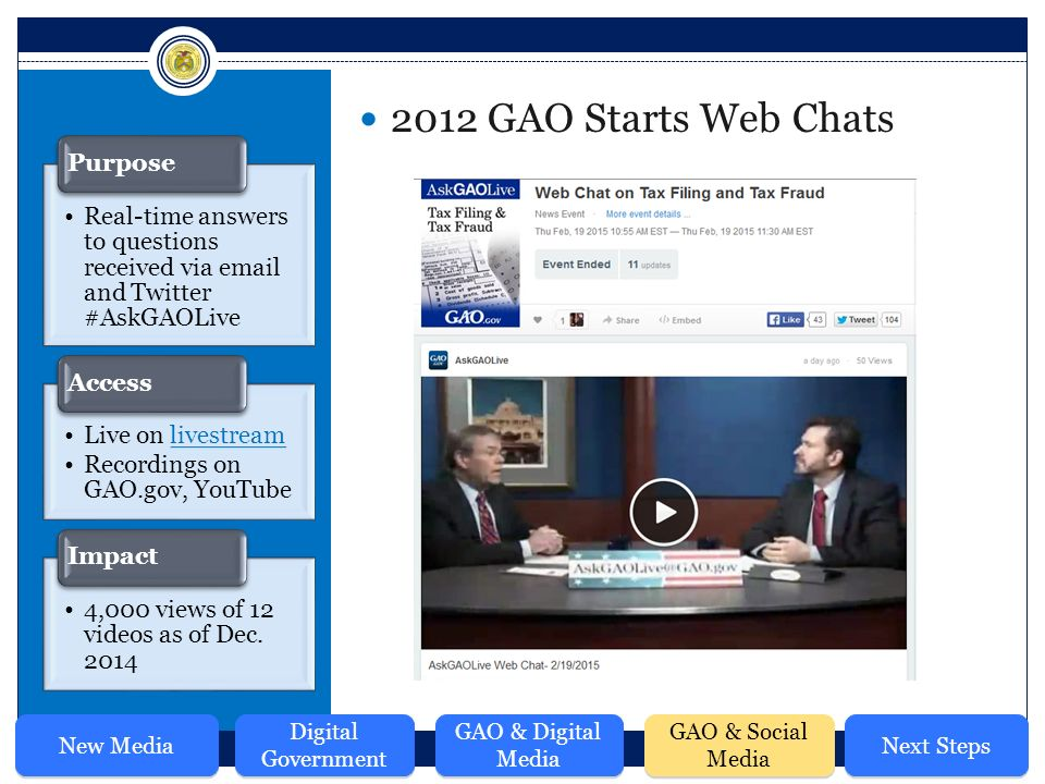 2012 GAO Starts Web Chats Real-time answers to questions received via  and Twitter #AskGAOLive Purpose Live on livestreamlivestream Recordings on GAO.gov, YouTube Access 4,000 views of 12 videos as of Dec.