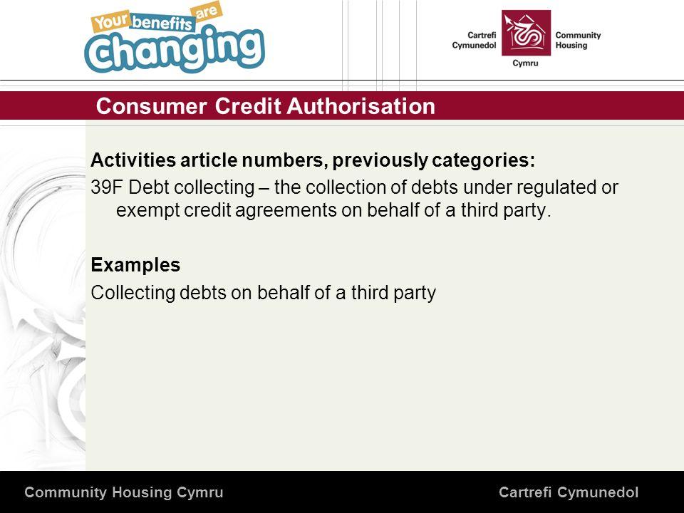 Consumer Credit Authorisation Community Housing Cymru Cartrefi