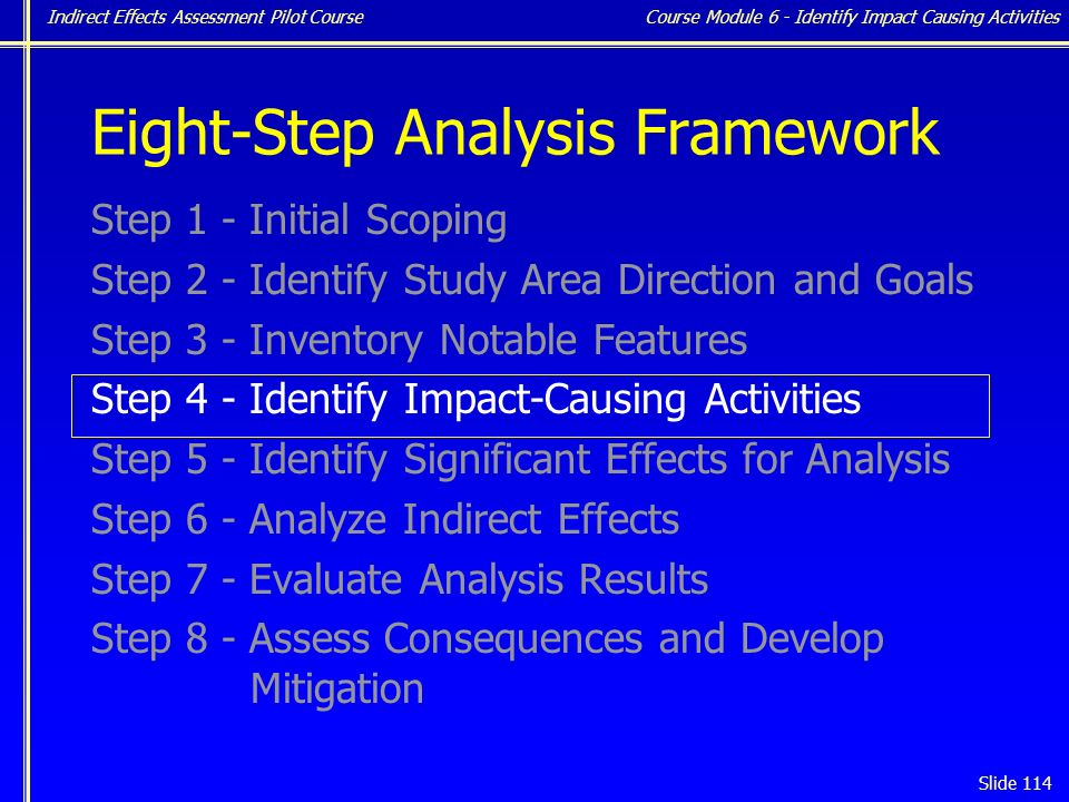 Indirect Effects Assessment Pilot Course Slide 114 Eight-Step Analysis Framework Step 1 - Initial Scoping Step 2 - Identify Study Area Direction and Goals Step 3 - Inventory Notable Features Step 4 - Identify Impact-Causing Activities Step 5 - Identify Significant Effects for Analysis Step 6 - Analyze Indirect Effects Step 7 - Evaluate Analysis Results Step 8 - Assess Consequences and Develop Mitigation Course Module 6 - Identify Impact Causing Activities