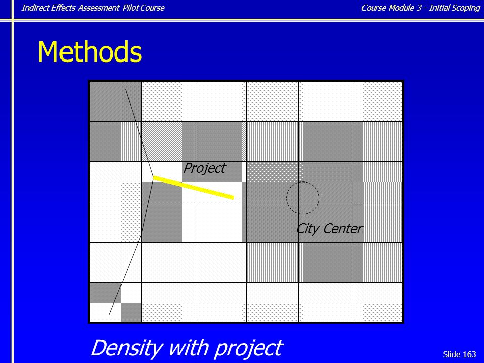 Indirect Effects Assessment Pilot Course Slide 163 Density with project Course Module 3 - Initial Scoping City Center Project Methods