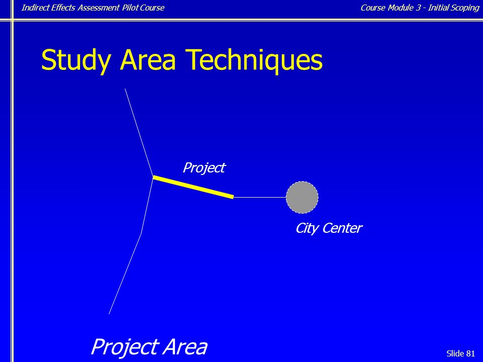 Indirect Effects Assessment Pilot Course Slide 81 Study Area Techniques City Center Project Project Area Course Module 3 - Initial Scoping