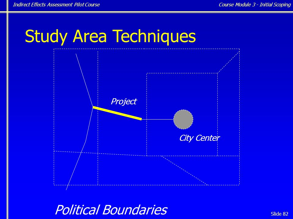Indirect Effects Assessment Pilot Course Slide 82 Study Area Techniques City Center Project Political Boundaries Course Module 3 - Initial Scoping